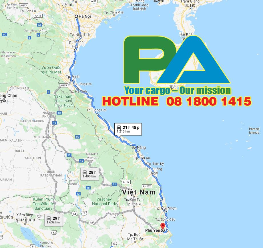 Bản đồ tuyến đường vận chuyển hàng hóa đi từ Hà Nội đi Phú Yên