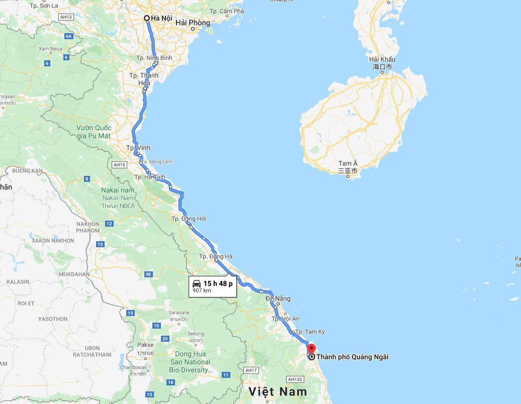 Vận chuyển hàng từ Hà Nội đi đến Quảng Ngãi