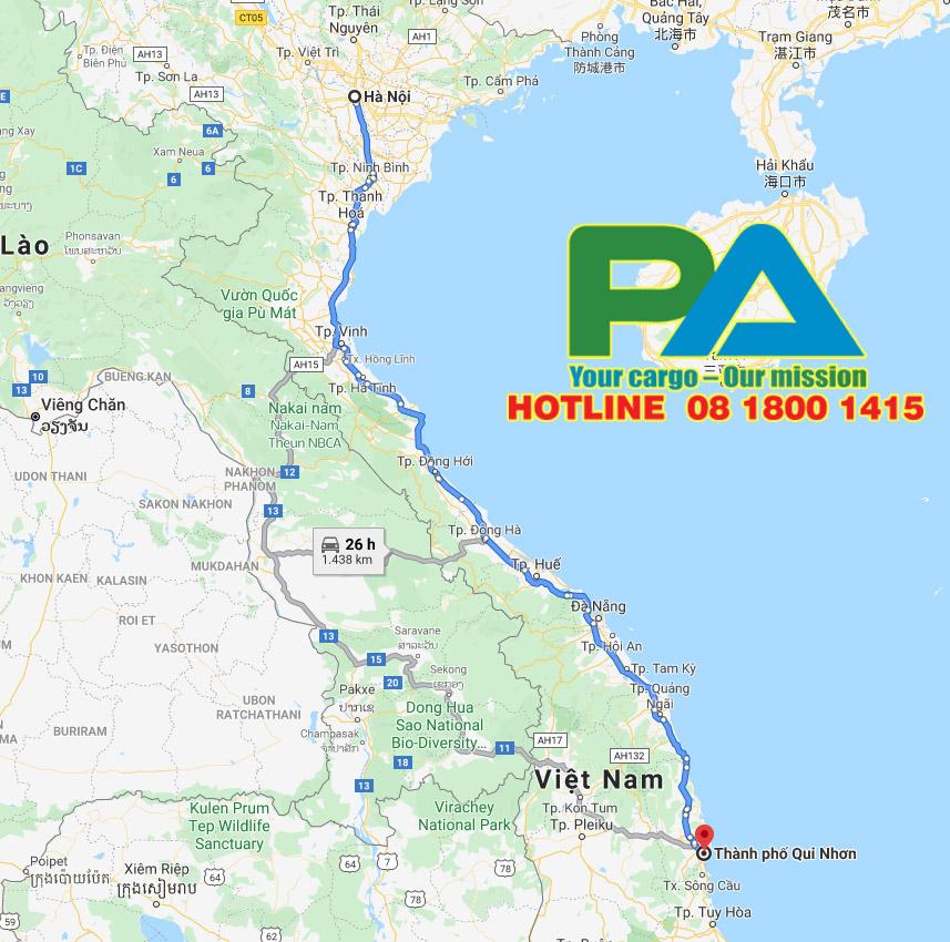 Tuyến đường vận chuyển hàng hóa từ Hà Nội đi Quy Nhơn