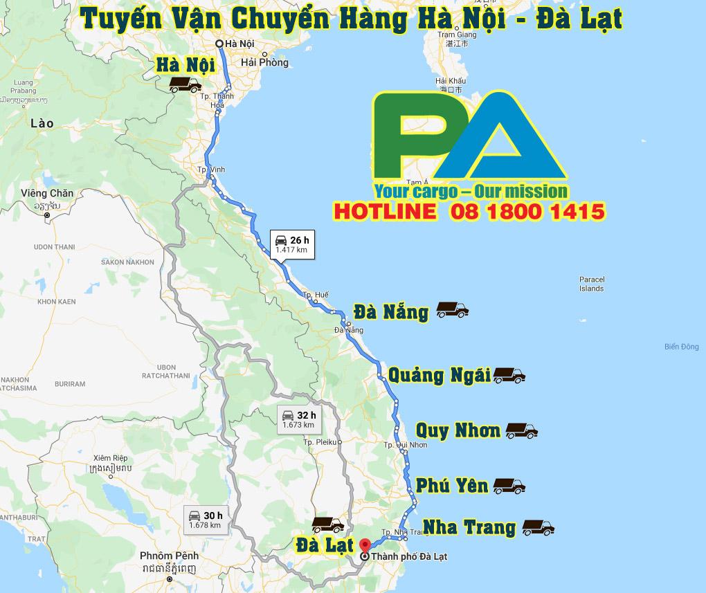 Tuyến đường vận chuyển Hà Nội - Đà Lạt