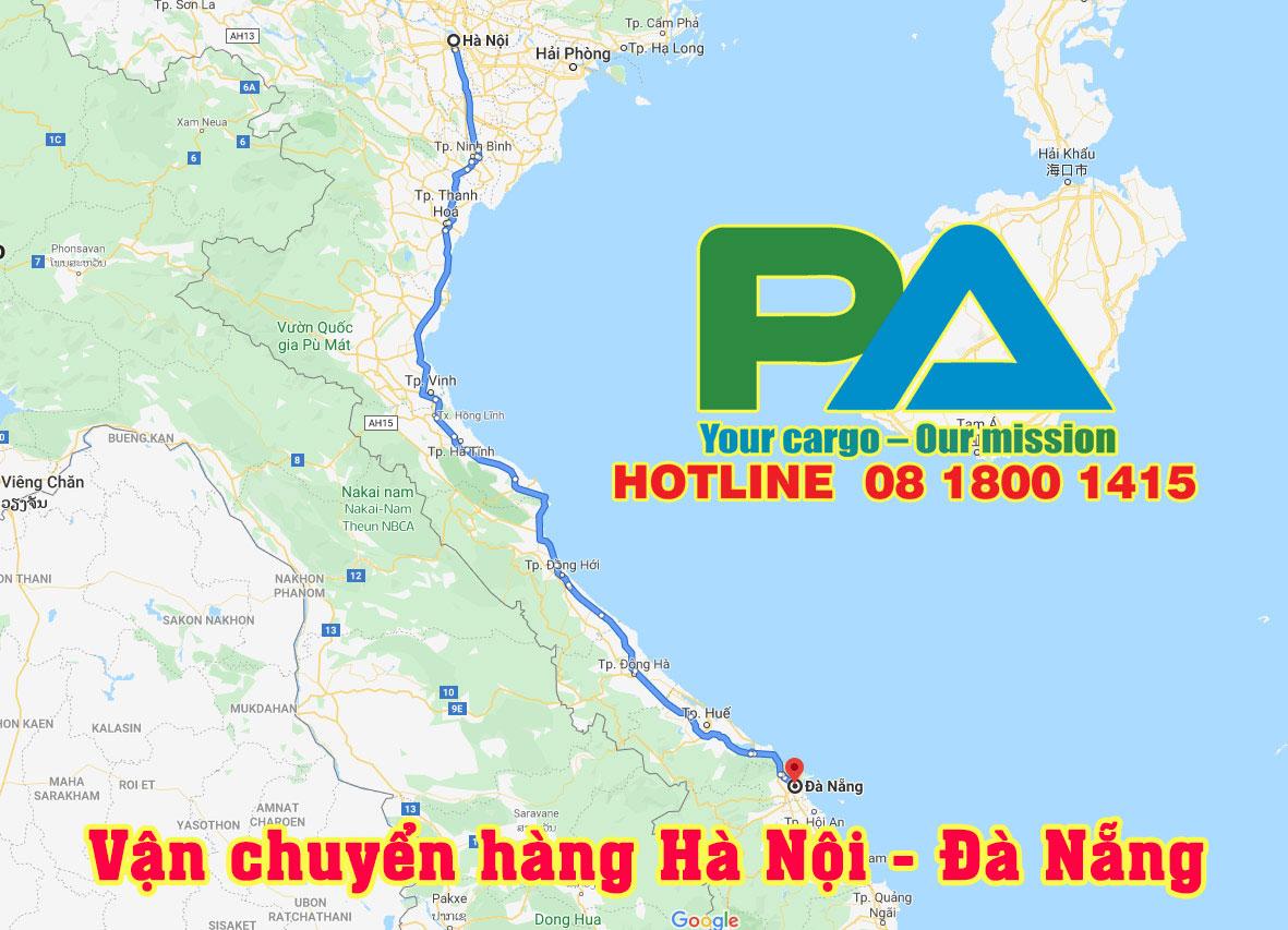 Quãng đường di chuyển hàng từ Hà Nội vào Đà Nẵng