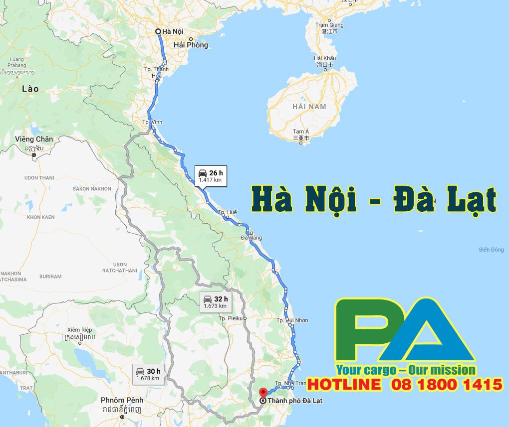 Tuyến đường vận chuyển hàng từ Hà Nội đi Đà Lạt