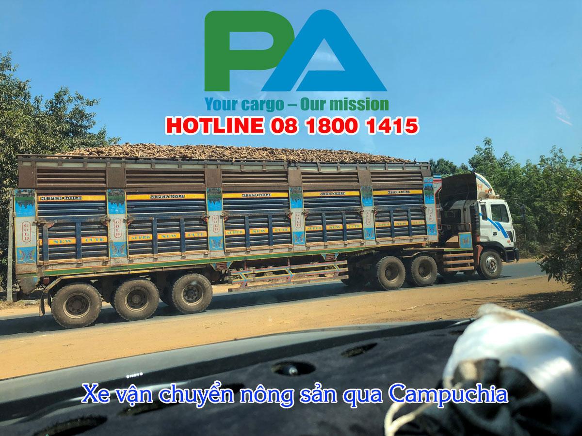 Xe vận chuyển nông sản đi Campuchia